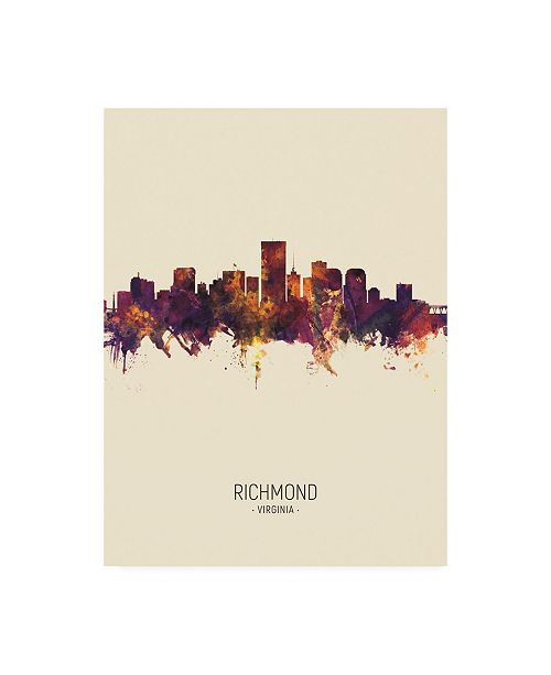 "Trademark Global Michael Tompsett Richmond Virginia Skyline Portrait III Canvas Art - 19.5"" x 26"""