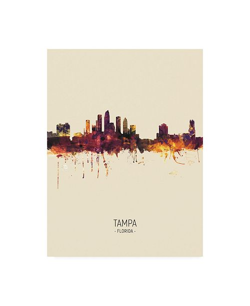 "Trademark Global Michael Tompsett Tampa Florida Skyline Portrait III Canvas Art - 19.5"" x 26"""