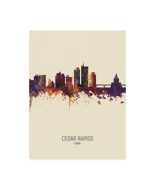 "Trademark Global Michael Tompsett Cedar Rapids Iowa Skyline Portrait III Canvas Art - 36.5"" x 48"""