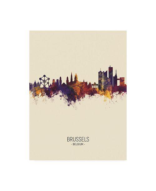 "Trademark Global Michael Tompsett Brussels Belgium Skyline Portrait III Canvas Art - 15.5"" x 21"""