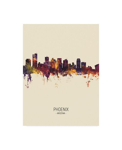 "Trademark Global Michael Tompsett Phoenix Arizona Skyline Portrait III Canvas Art - 19.5"" x 26"""