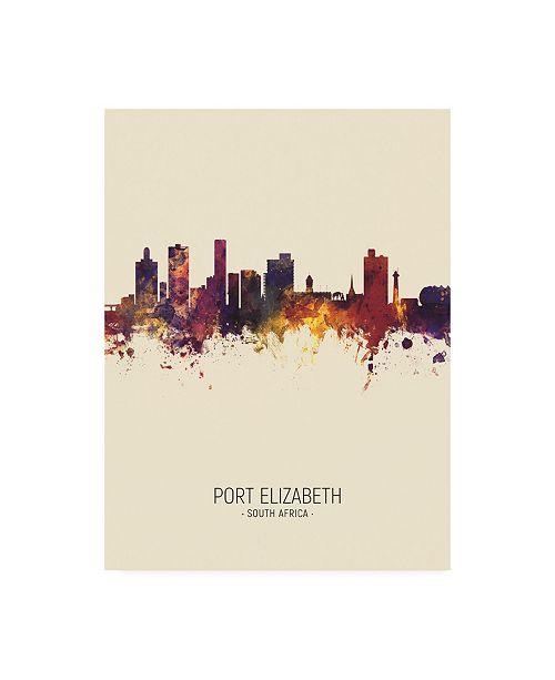 "Trademark Global Michael Tompsett Port Elizabeth South Africa Skyline Portrait III Canvas Art - 36.5"" x 48"""