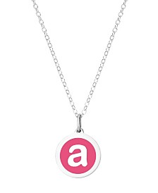 "Auburn Jewelry Mini Initial Pendant Necklace in Sterling Silver and Hot Pink Enamel, 16"" + 2"" Extender"