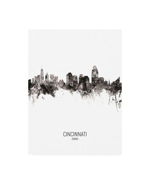 "Trademark Global Michael Tompsett Cincinnati Ohio Skyline Portrait II Canvas Art - 15.5"" x 21"""