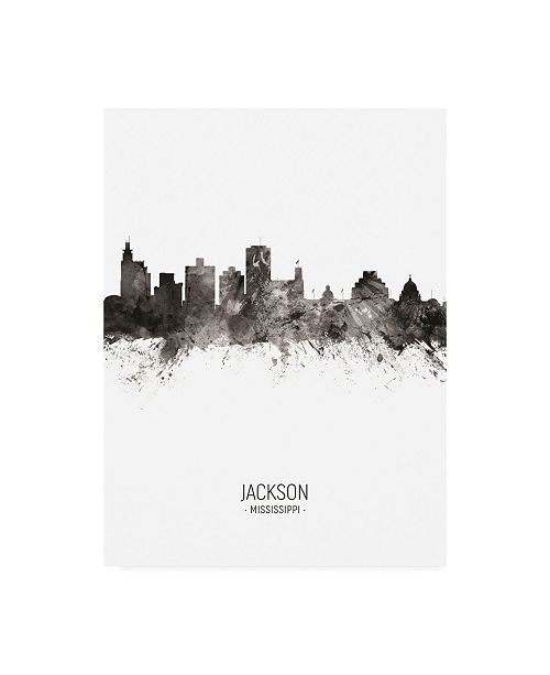 "Trademark Global Michael Tompsett Jackson Mississippi Skyline Portrait II Canvas Art - 19.5"" x 26"""