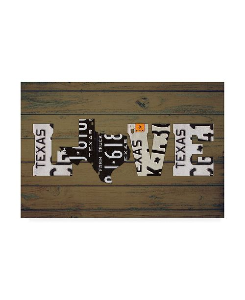 "Trademark Global Design Turnpike Texas State Love Canvas Art - 36.5"" x 48"""