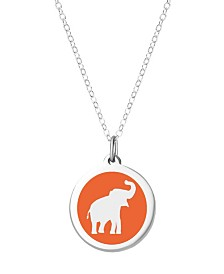 "Auburn Jewelry Elephant Pendant Necklace in Sterling Silver and Enamel, 16"" + 2"" Extender"