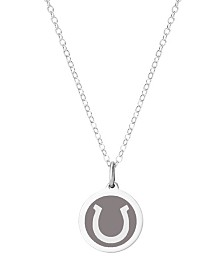 "Auburn Jewelry Mini Horseshoe Pendant Necklace in Sterling Silver and Enamel, 16"" + 2"" Extender"