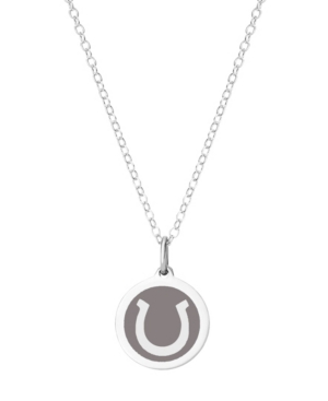 Mini Horseshoe Pendant Necklace in Sterling Silver and Enamel
