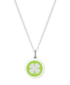 "Auburn Jewelry Mini Clover Pendant Necklace in Sterling Silver and Enamel, 16"" + 2"" Extender"