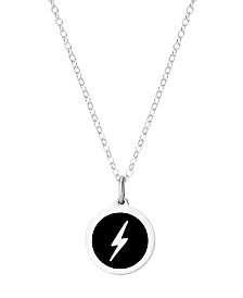 "Auburn Jewelry Mini Lightning Pendant Necklace in Sterling Silver and Enamel, 16"" + 2"" Extender"