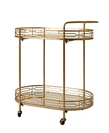 Deluxe Metal Oval Mirrored Bar Cart