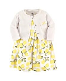 Hudson Baby Dress and Cardigan Set, Lemons, 5 Toddler