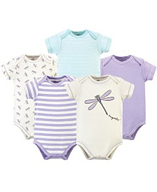 Touched by Nature Organic Cotton Bodysuit, 5 Pack, Dragonfly, 6-9 Months