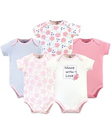 Touched by Nature Organic Cotton Bodysuit, 5 Pack, Pink Rose, 0-3 Months