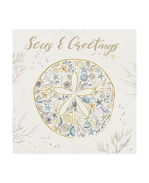 "Trademark Global Jess Aiken Seaside Blossoms IV Blue Greetings Canvas Art - 15.5"" x 21"""