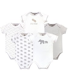 Touched by Nature Organic Cotton Bodysuit, 5 Pack, Marching Elephant, 9-12 Months