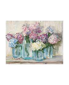 "Carol Rowan Hydrangeas in Glass Jar Pastel Crop Canvas Art - 19.5"" x 26"""