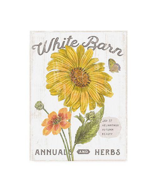 "Trademark Global Sue Schlabach White Barn Flowers I Canvas Art - 19.5"" x 26"""