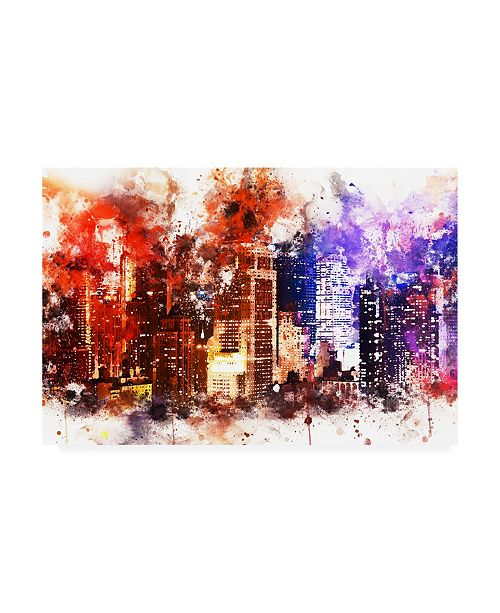 """Trademark Global Philippe Hugonnard NYC Watercolor Collection - Manhattan by Night Canvas Art - 19.5"""" x 26"""""""