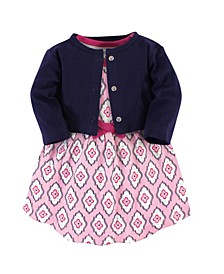 Organic Cotton Dress and Cardigan Set, Trellis, 3 Toddler