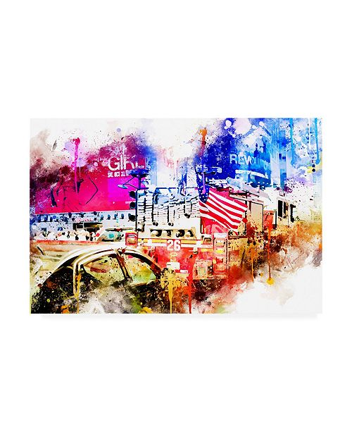 "Trademark Global Philippe Hugonnard NYC Watercolor Collection - Fire Truck Canvas Art - 36.5"" x 48"""