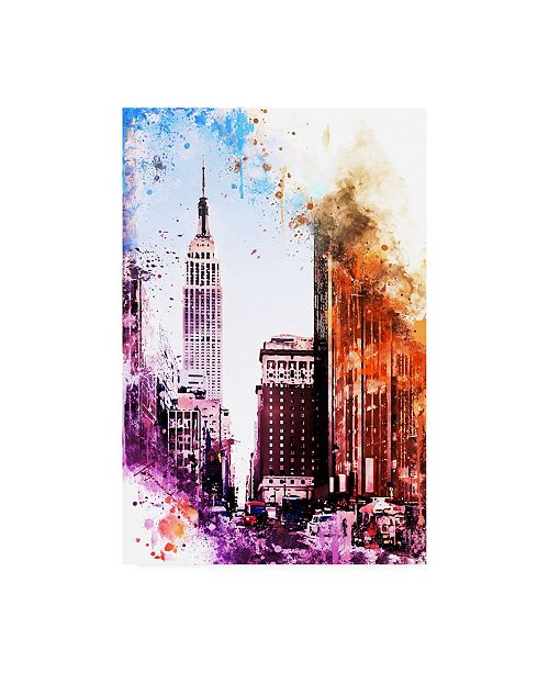 "Trademark Global Philippe Hugonnard NYC Watercolor Collection - Pink Empire Canvas Art - 19.5"" x 26"""