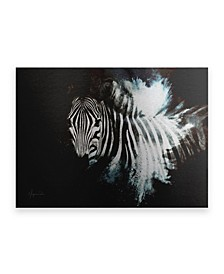 "Philippe Hugonnard Wild Explosion Collection - the Zebra II Floating Brushed Aluminum Art - 21"" x 25"""