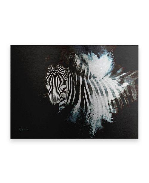 "Trademark Global Philippe Hugonnard Wild Explosion Collection - the Zebra II Floating Brushed Aluminum Art - 21"" x 25"""