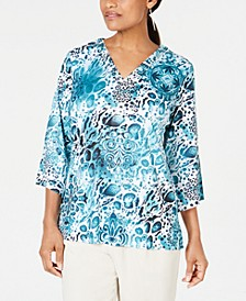 Petite Split-Neck Top, Created For Macy's