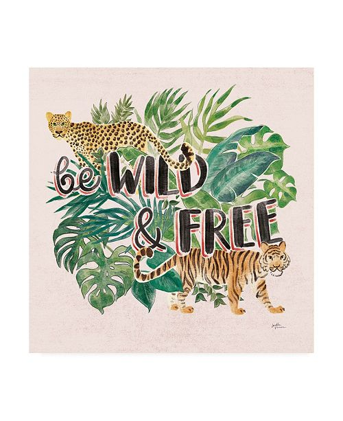 "Trademark Global Janelle Penner Jungle Vibes VII - Be Wild and Free Pink Canvas Art - 15.5"" x 21"""