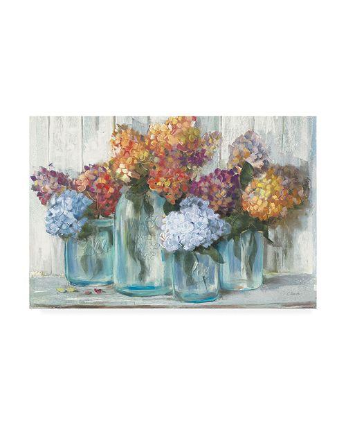 "Trademark Global Carol Rowan Fall Hydrangeas in Glass Jar Crop Canvas Art - 19.5"" x 26"""