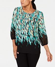 Petite Printed Embellished Blouson-Sleeve Top, Created for Macy's