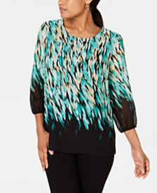 JM Collection Petite Printed Embellished Blouson-Sleeve Top, Created for Macy's