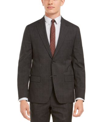 Men's Modern-Fit Stretch Charcoal/Brown Plaid Suit Separate Jacket