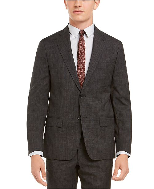 DKNY Men's Modern-Fit Stretch Charcoal/Brown Plaid Suit Separate Jacket