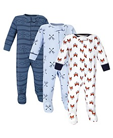 Zipper Sleep N Play, Fox, 3 Pack, 6-9 Months