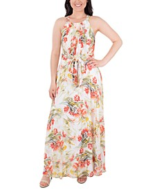 Floral-Print Pleated Maxi Dress