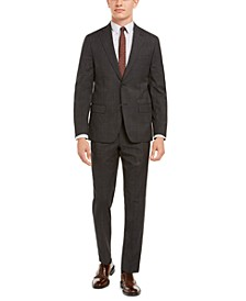 Men's Modern-Fit Stretch Charcoal/Brown Plaid Suit Separates