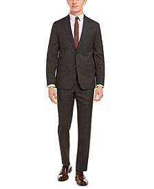 Men's Modern-Fit Stretch Charcoal/Brown Plaid Suit Separates