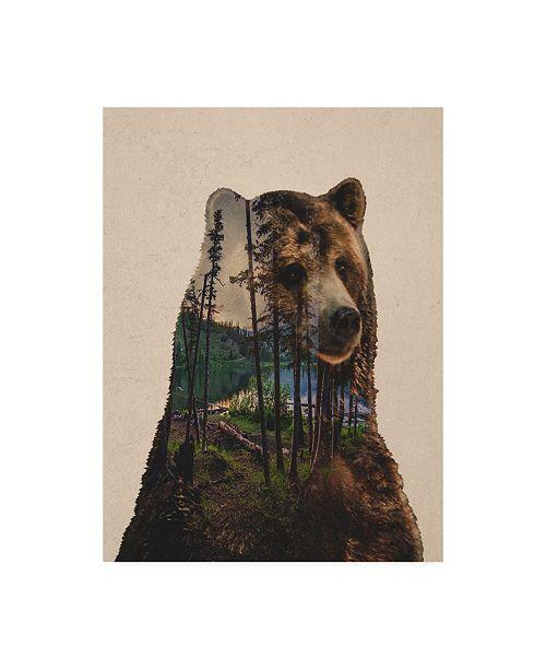 "Trademark Global Davies Babies Bear Lake Canvas Art - 36.5"" x 48"""