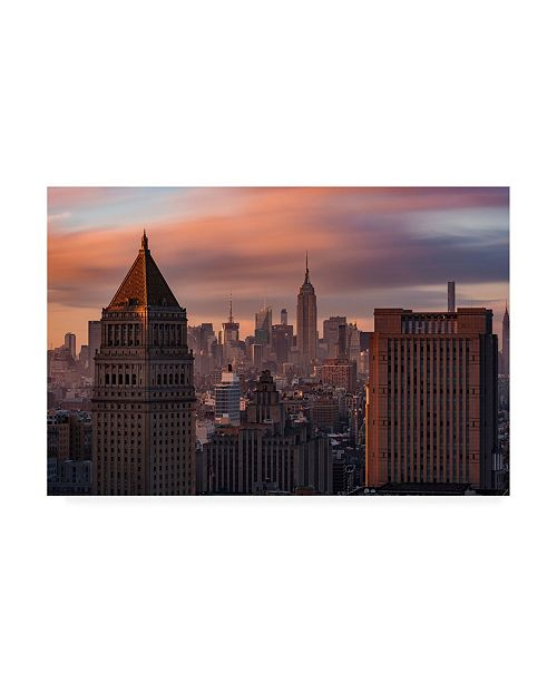 "Trademark Global Bruce Gett Golden Light New York Low Clouds Canvas Art - 36.5"" x 48"""