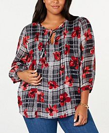 Plus Size Pleated Tie-Neck Top