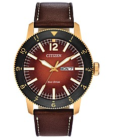 Citizen Eco-Drive Men's Brycen Brown Leather Strap Watch 44mm
