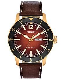 Citizen Eco-Drive Men's Brycen Brown Leather Strap Watch 44mm
