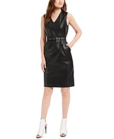 Belted Faux-Leather Sheath Dress