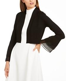 Calvin Klein Chiffon Tier-Sleeve Sweater