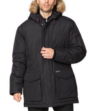 Hawke & Co. Outfitter Men's Big & Tall Long Snorkel Parka With Faux Fur Hood In Black