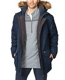 Men's Big & Tall Long Snorkel Parka with Faux Fur Hood
