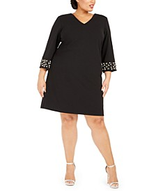 Plus Size V-Neck Imitation Pearl Dress